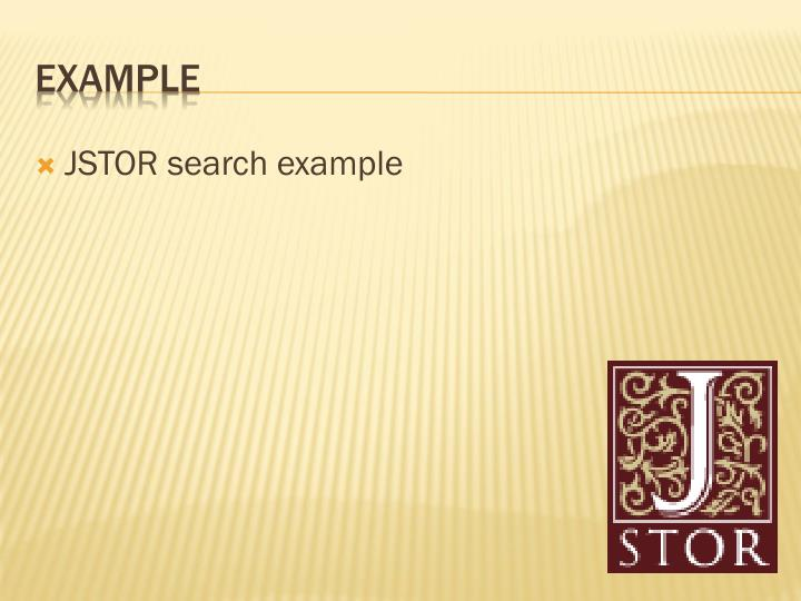 JSTOR search example