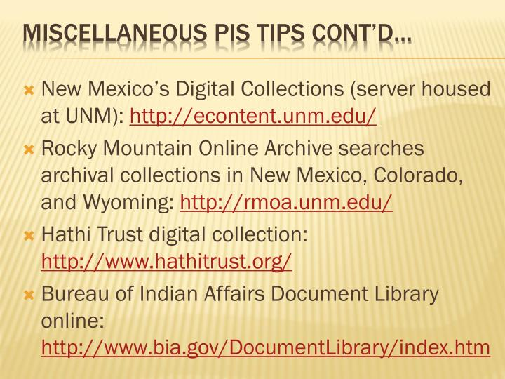 New Mexico's Digital Collections (server housed at UNM):