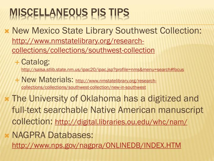 New Mexico State Library Southwest Collection:
