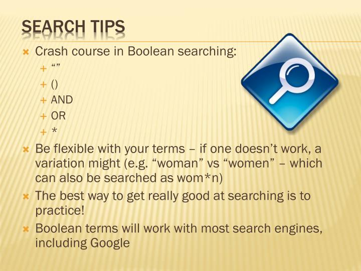 Crash course in Boolean searching: