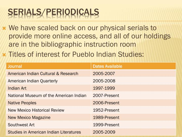 We have scaled back on our physical serials to provide more online access, and all of our holdings are in the bibliographic instruction room