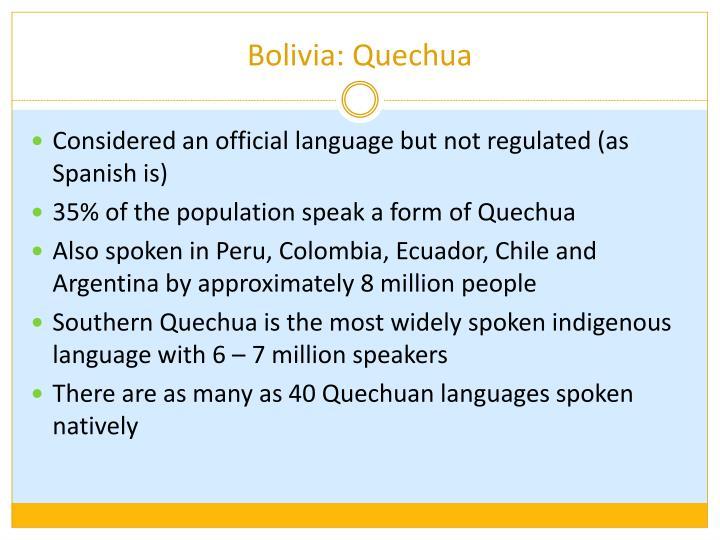 Bolivia: Quechua