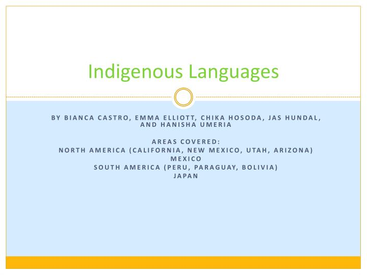 Indigenous languages
