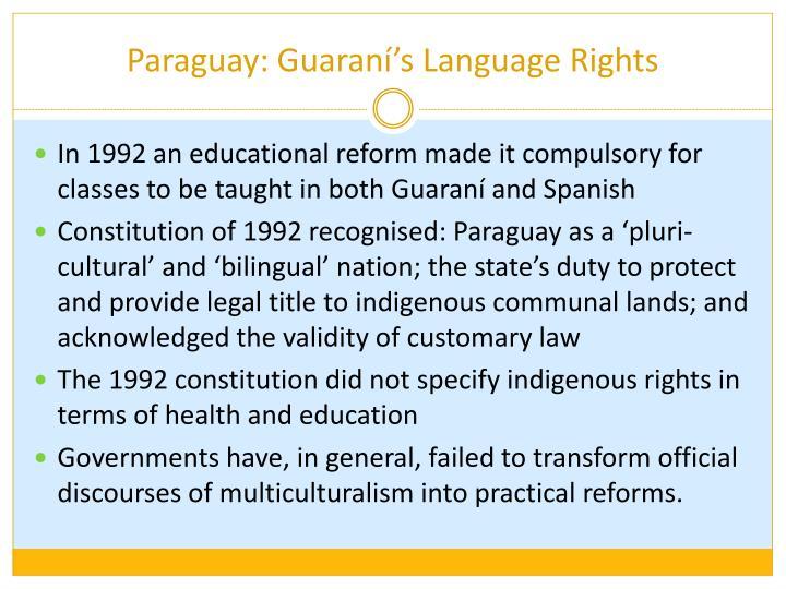 Paraguay: Guaraní's Language Rights