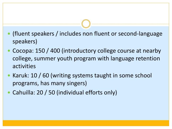 (fluent speakers / includes non fluent or second-language speakers)