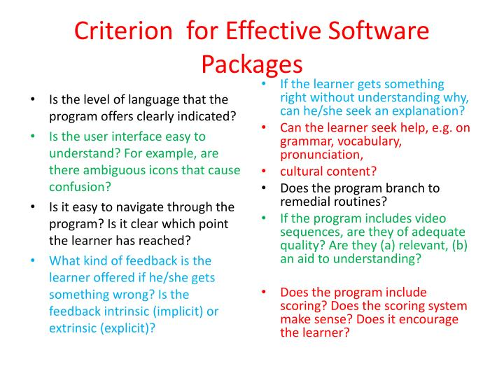 Criterion  for Effective Software Packages