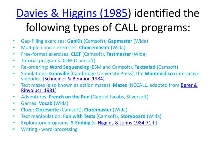 Davies & Higgins (1985