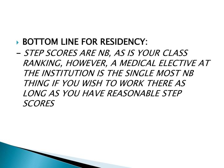 BOTTOM LINE FOR RESIDENCY: