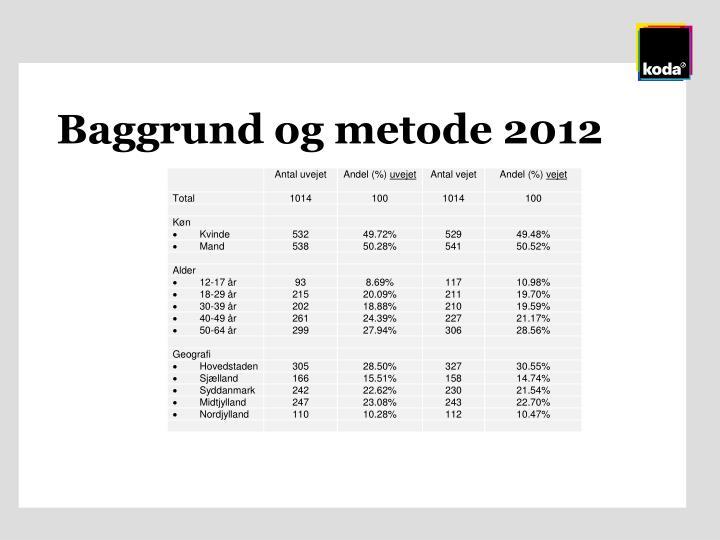 Baggrund og metode 2012