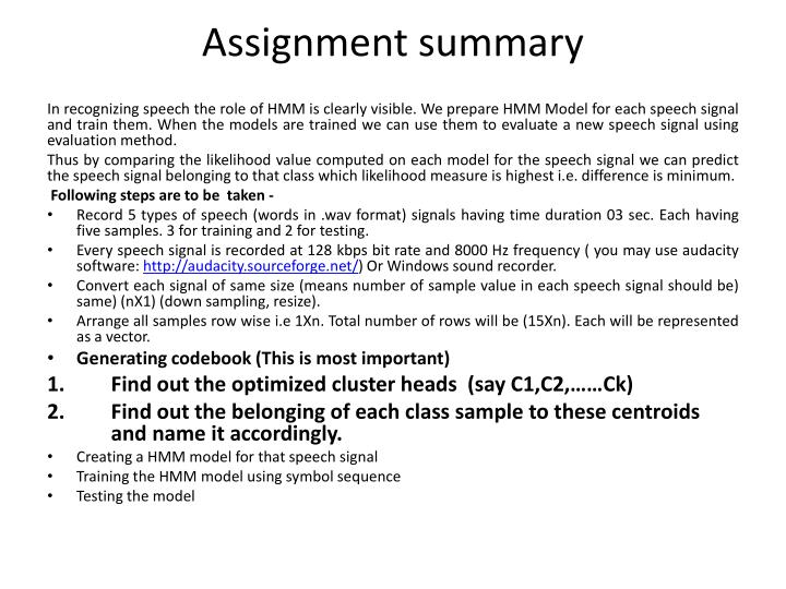Assignment summary