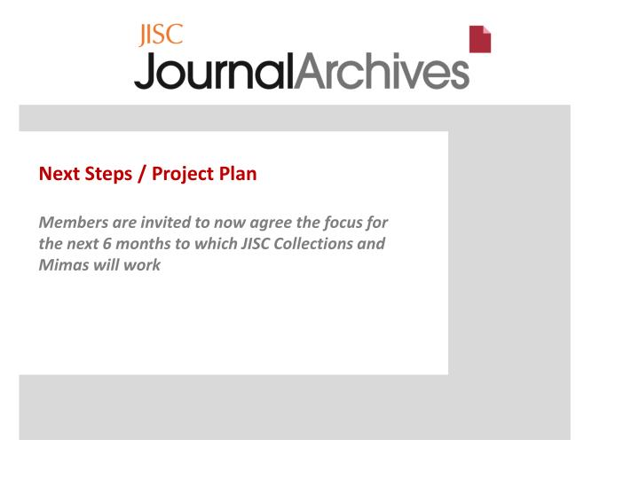 Next Steps / Project Plan
