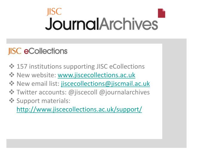 157 institutions supporting JISC