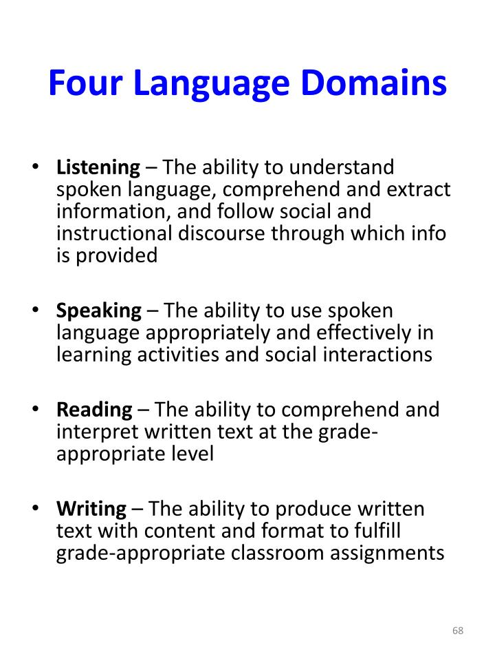 Four Language Domains