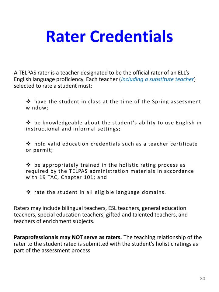 Rater Credentials