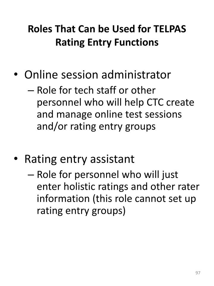 Roles That Can be Used for TELPAS Rating Entry Functions