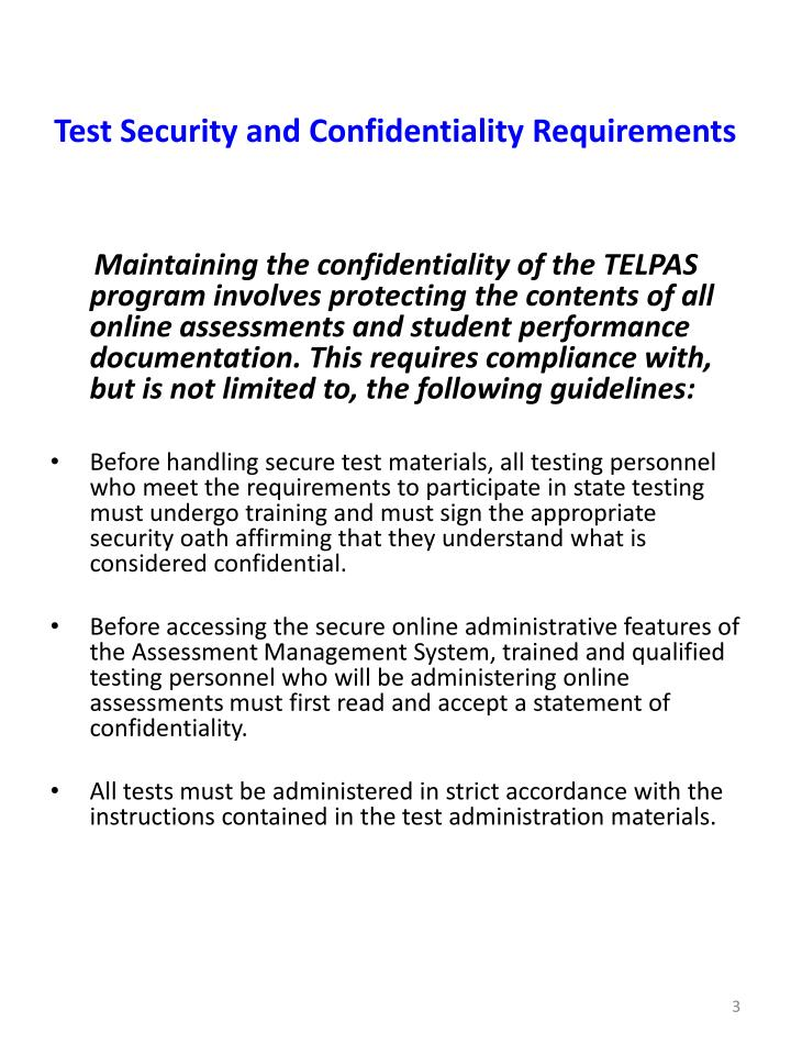 Test security and confidentiality requirements