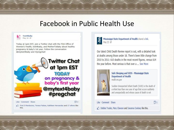 Facebook in Public Health Use