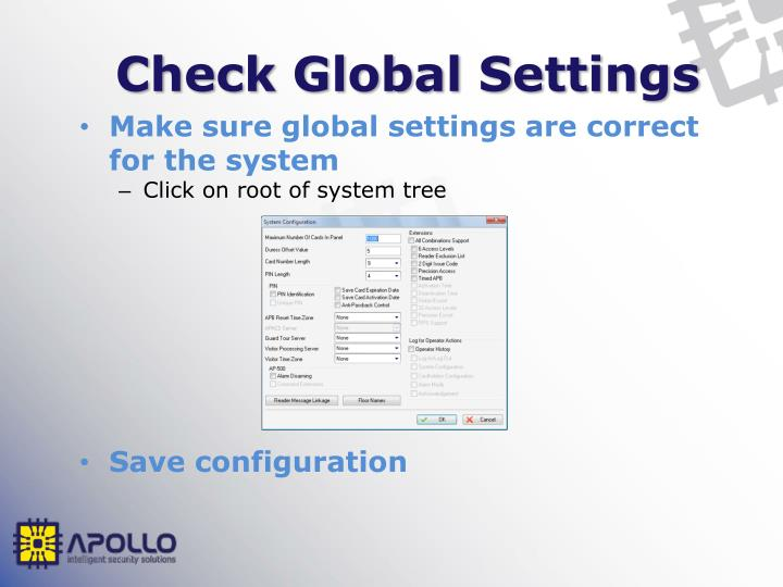 Check Global Settings
