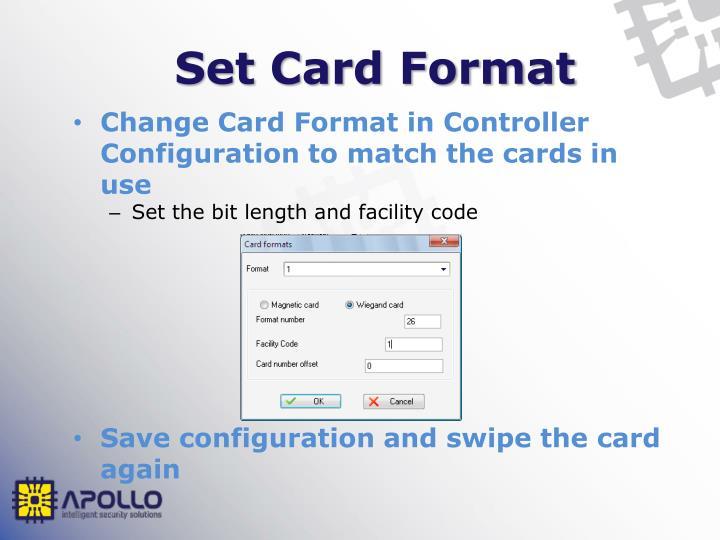 Set Card Format