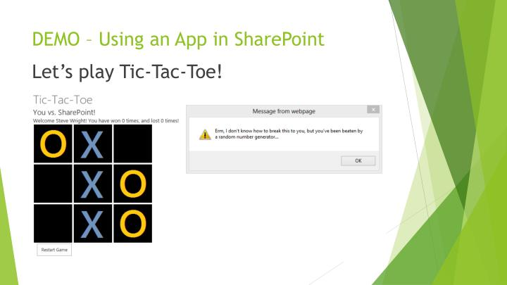 DEMO – Using an App in SharePoint