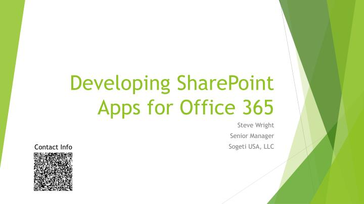 Developing sharepoint apps for office 365