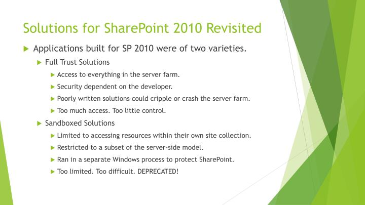 Solutions for SharePoint 2010 Revisited