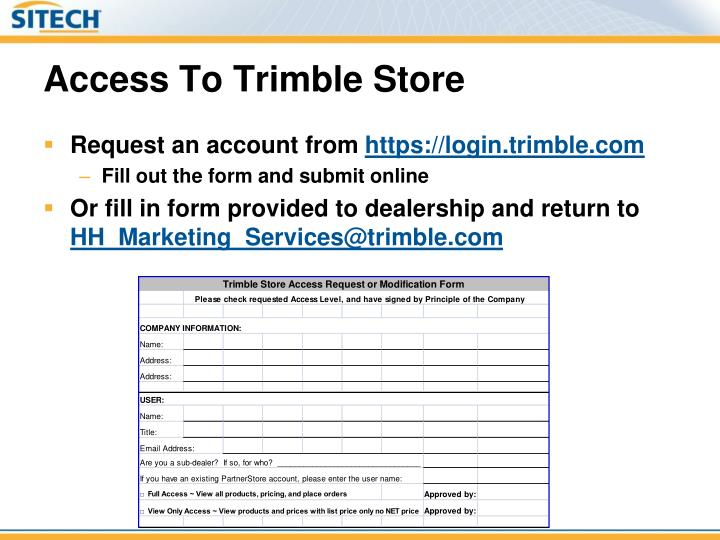 Access To Trimble Store