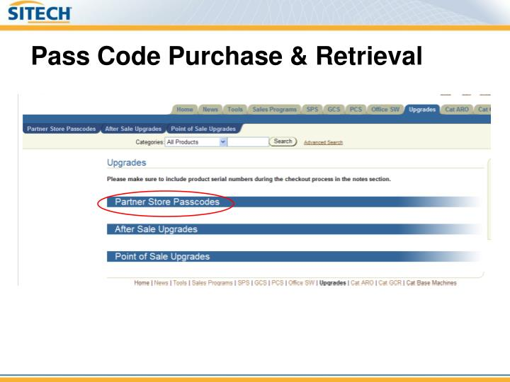 Pass Code Purchase & Retrieval