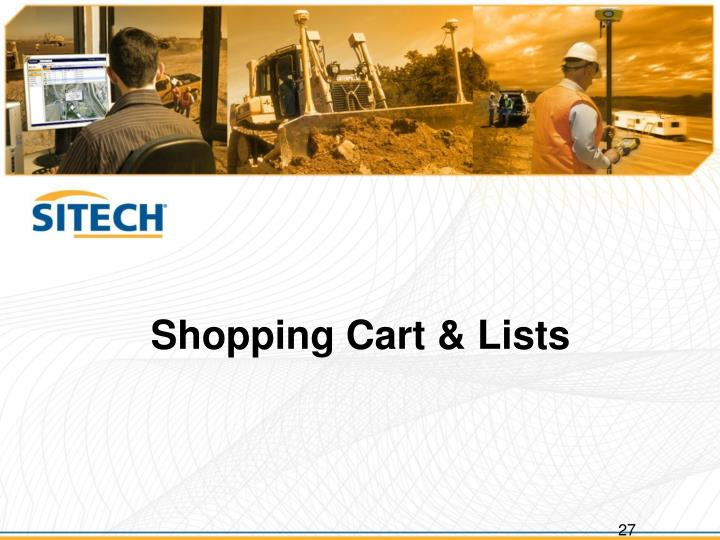 Shopping Cart & Lists
