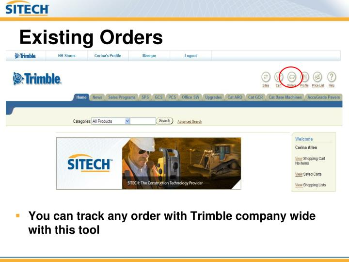 You can track any order with Trimble company wide with this tool