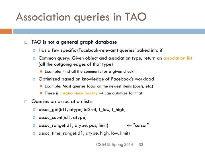 Association queries in TAO