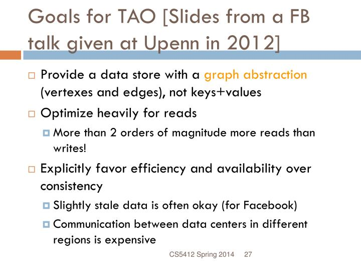 Goals for TAO [Slides from a FB talk given at