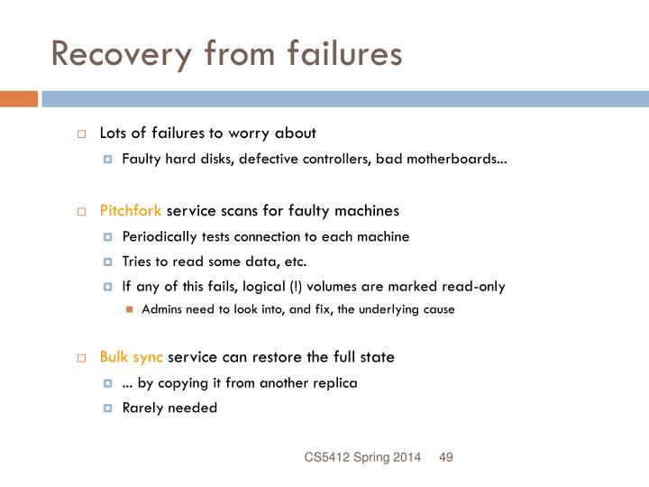 Recovery from failures