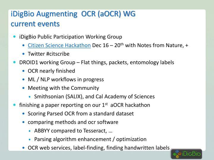 iDigBio Augmenting  OCR (aOCR) WG
