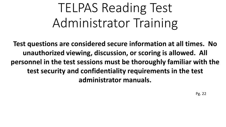 Ppt Telpas Rater Amp Reading Test Training 2014 Powerpoint