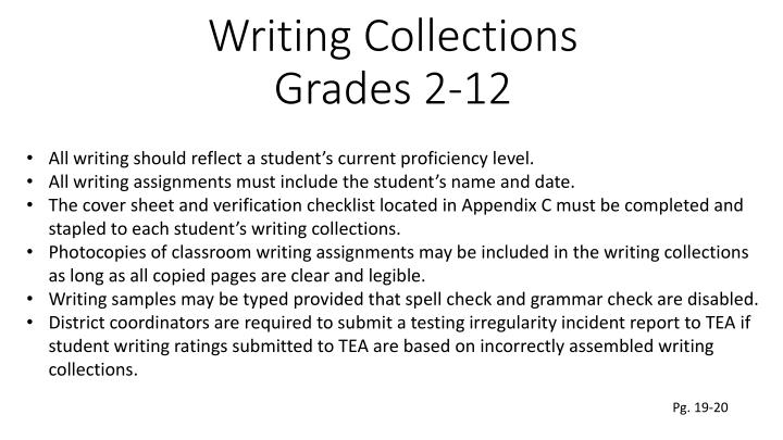 telpas writing samples Lisa hernandez bilingual/esl education specialist  in addition to student writing samples to monitor and promote  of telpas, student writing collections are.