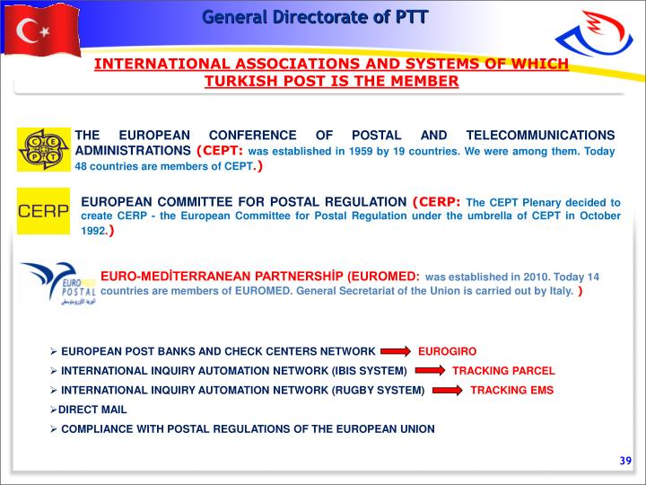 INTERNATIONAL ASSOCIATIONS AND SYSTEMS OF WHICH TURKISH POST IS THE MEMBER