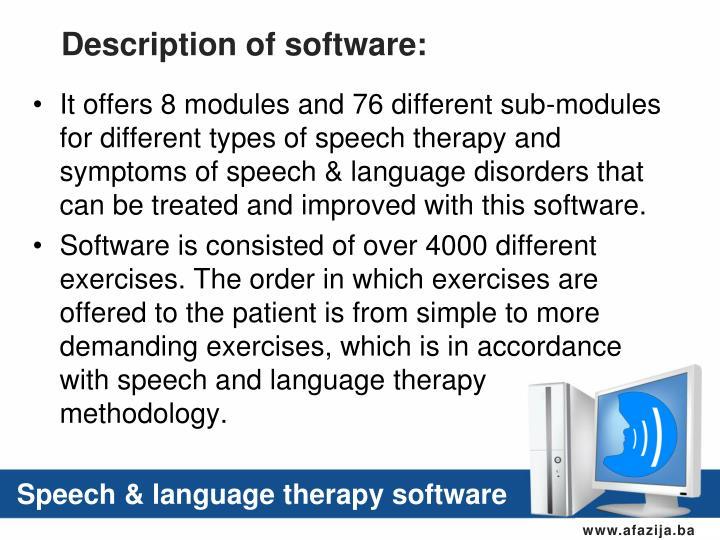 Description of software: