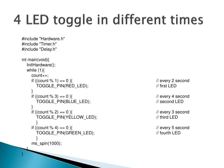 4 LED toggle in different times