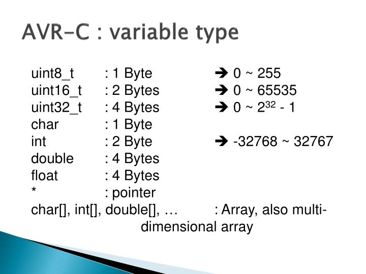 AVR-C : variable type