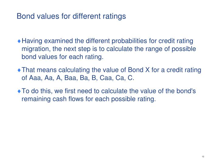 Bond values for different ratings