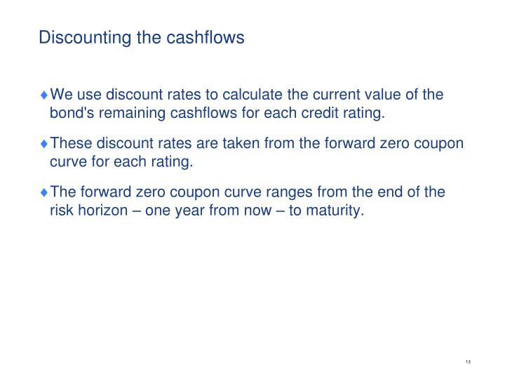 Discounting the cashflows