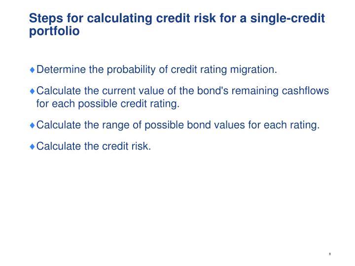 Steps for calculating credit risk for a single-credit portfolio