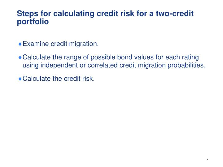 Steps for calculating credit risk for a two-credit portfolio