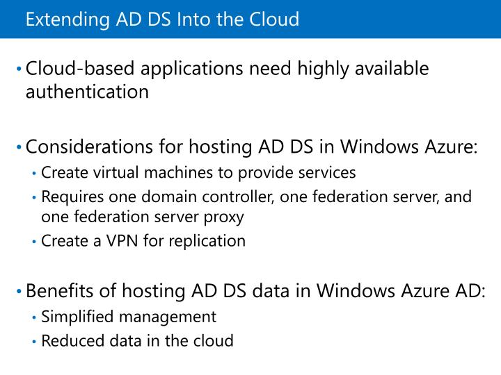 Extending AD DS Into the Cloud