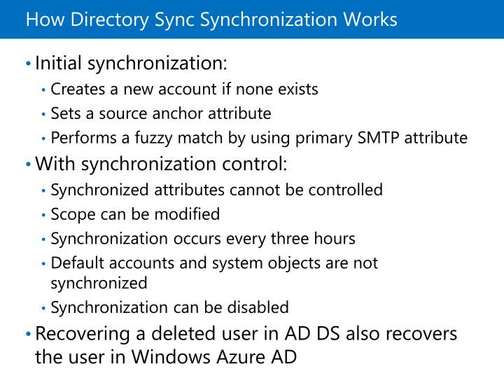 How Directory Sync Synchronization Works