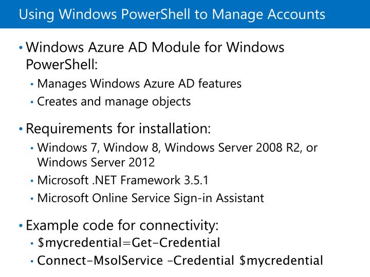 Using Windows PowerShell to Manage Accounts