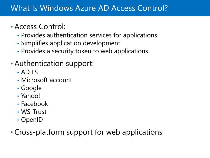 What Is Windows Azure AD Access Control?