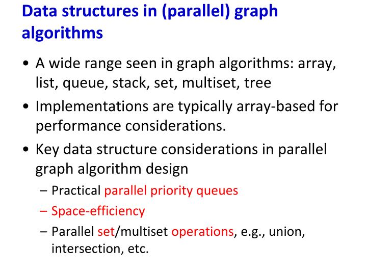 Data structures in (parallel) graph algorithms