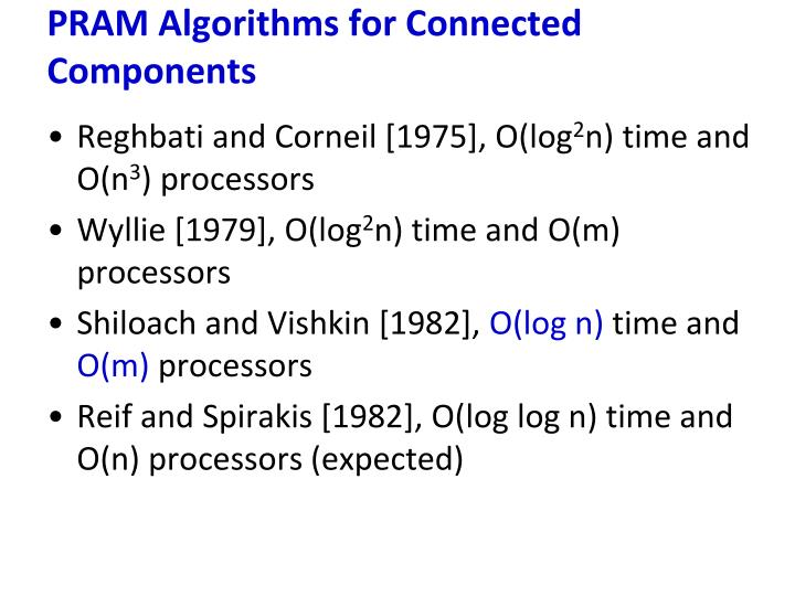 PRAM Algorithms for Connected Components